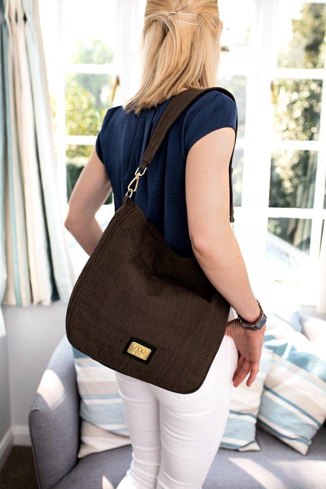 A slouchy hobo style canvas handbag in khaki