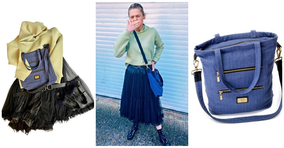 black prom style skirt, pistachio green hoodie, upcycled black shoes and blue canvas cross body shoulder bag with pockets and zips