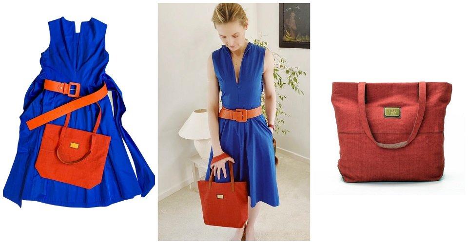 Cobalt blue dress, orange belt and red canvas classic shoulder bag