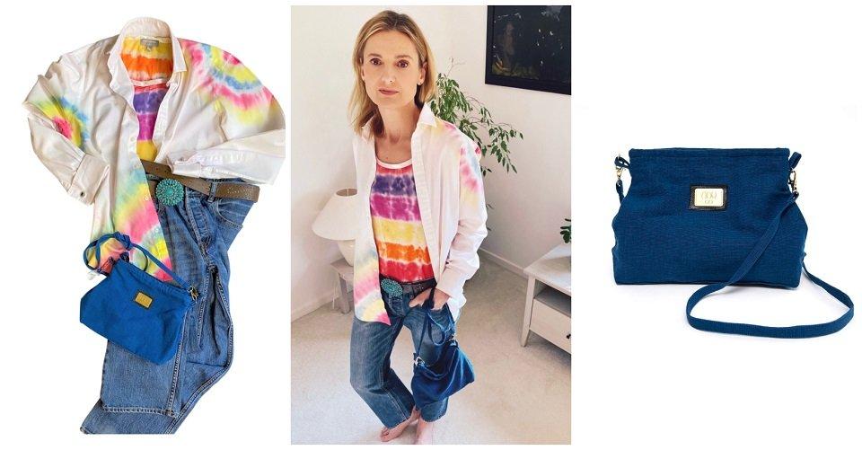 home dye shirt blue small fabric esha bag